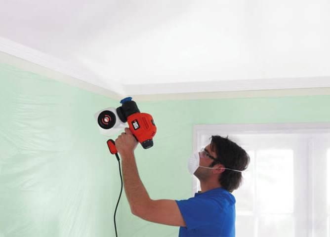 Фото покраски стен краскопультом